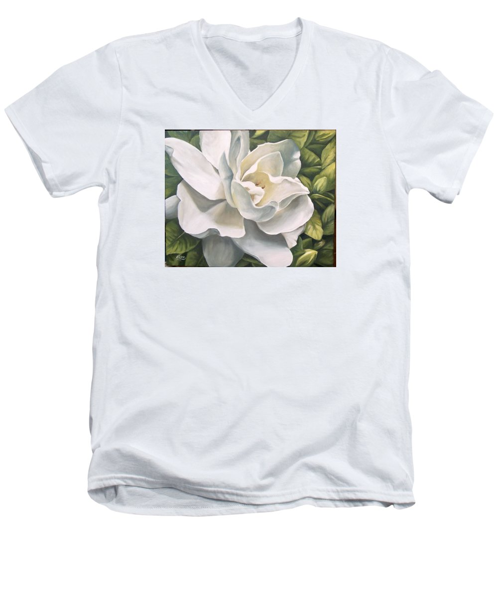 Flower Men's V-Neck T-Shirt featuring the painting Gardenia by Natalia Tejera