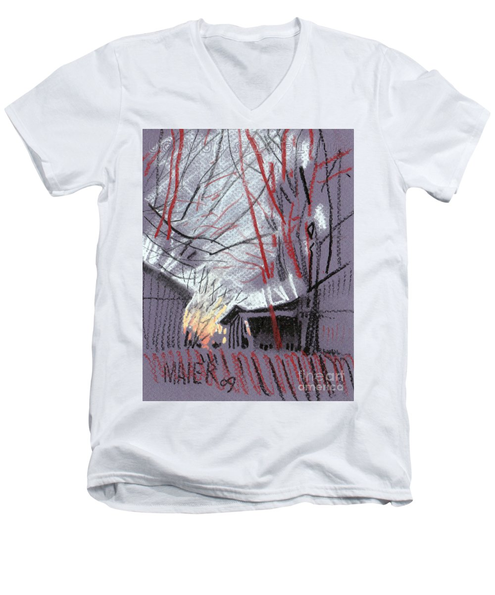 Pastel Men's V-Neck T-Shirt featuring the drawing Grey Evening by Donald Maier