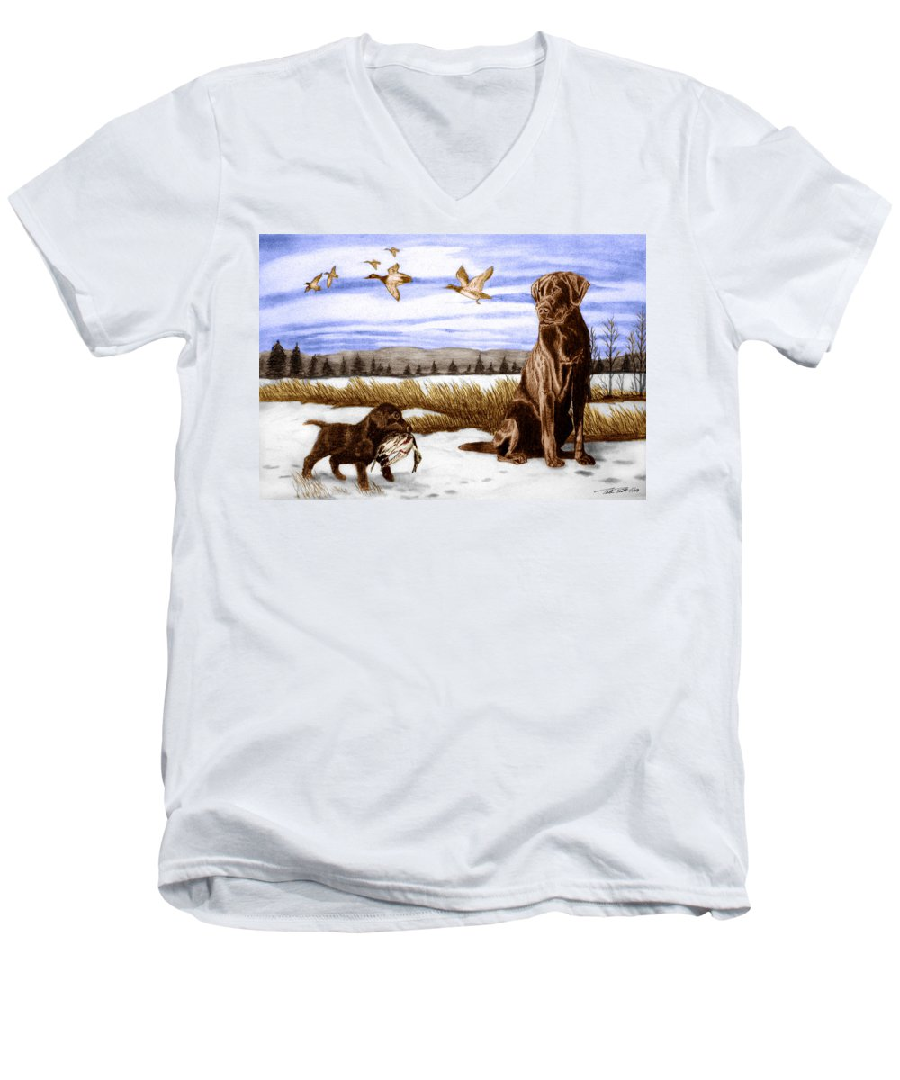 In Training Men's V-Neck T-Shirt featuring the drawing In Training by Peter Piatt
