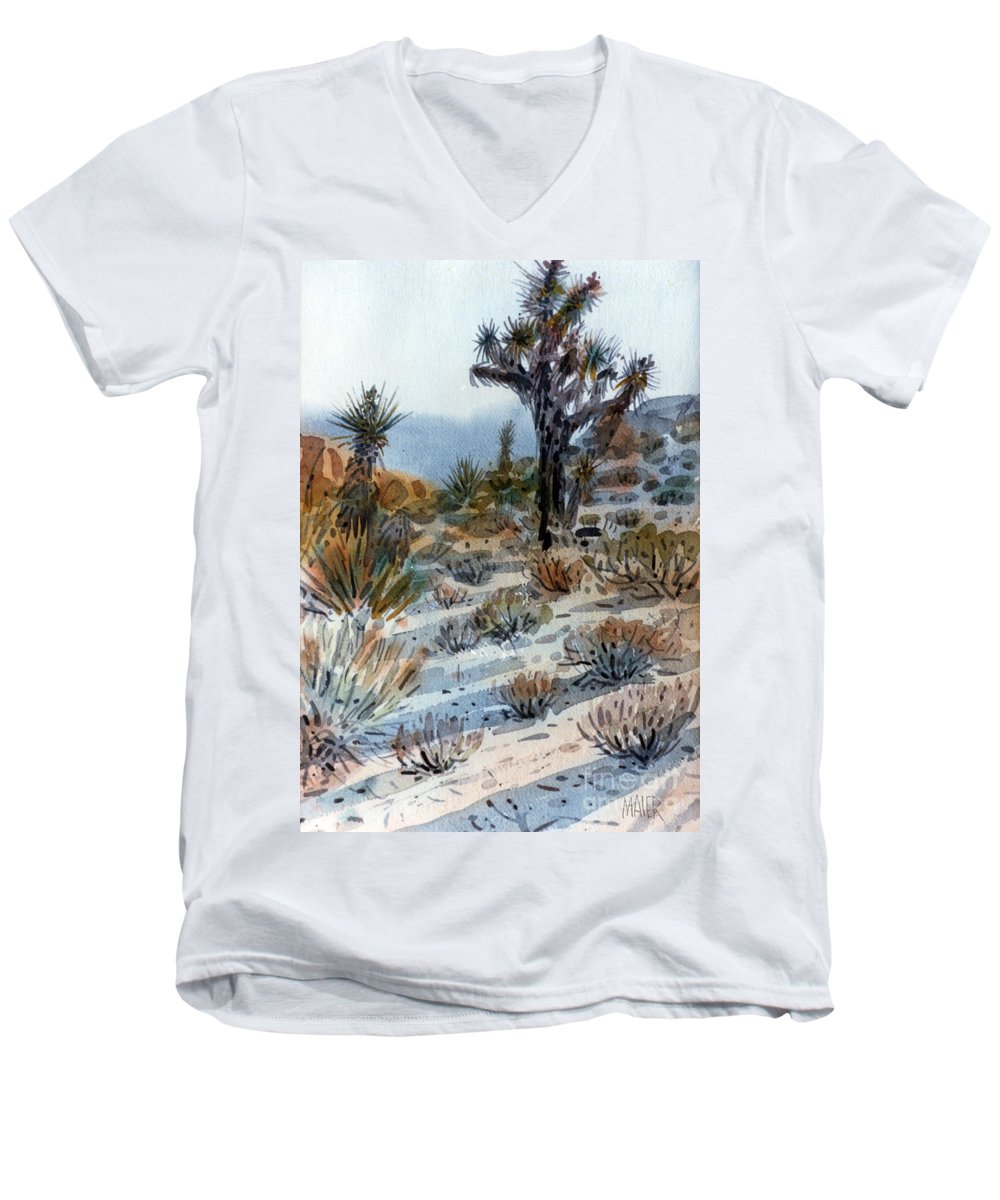 Joshua Tree Men's V-Neck T-Shirt featuring the painting Joshua Tree by Donald Maier