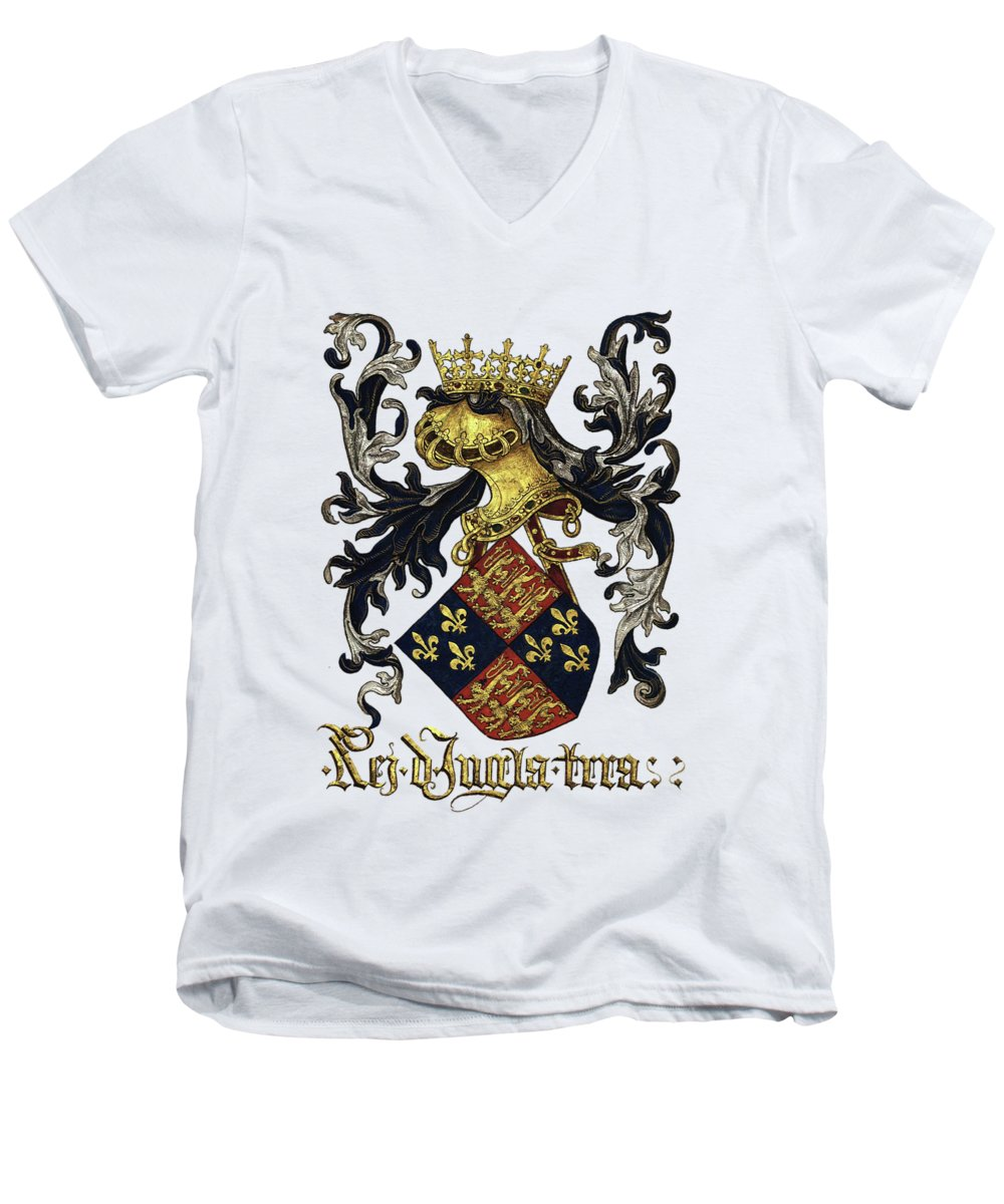 'roll Of Arms� Collection By Serge Averbukh Men's V-Neck T-Shirt featuring the photograph King Of England Coat Of Arms - Livro Do Armeiro-mor by Serge Averbukh