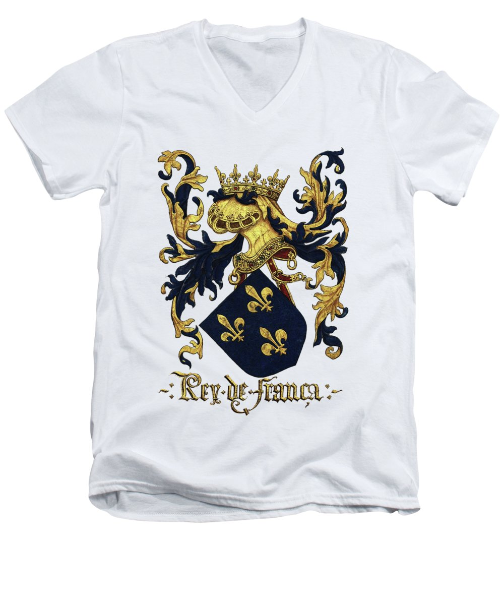 'roll Of Arms� Collection By Serge Averbukh Men's V-Neck T-Shirt featuring the photograph King Of France Coat Of Arms - Livro Do Armeiro-mor by Serge Averbukh