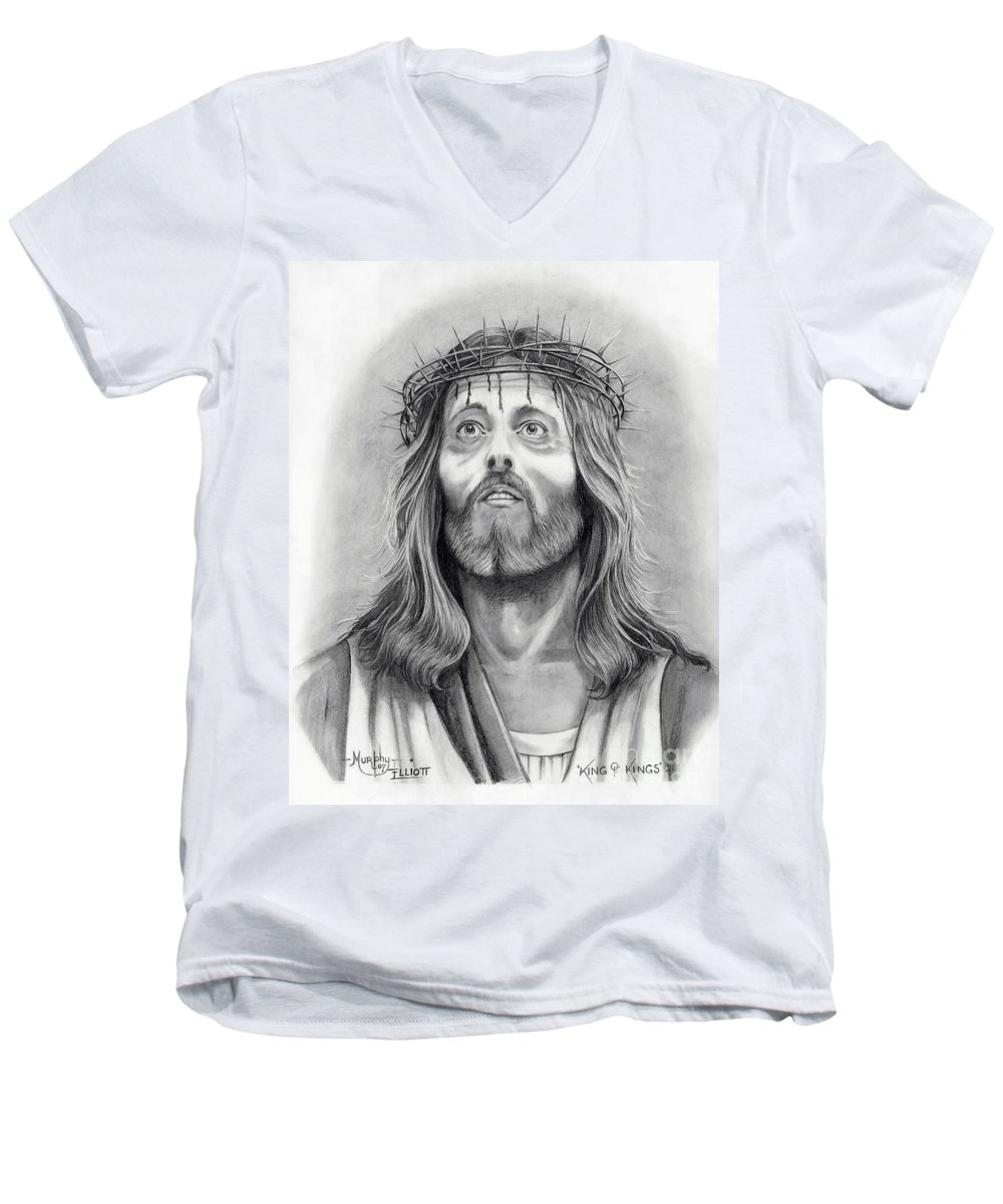 Jesus Christ Men's V-Neck T-Shirt featuring the drawing King Of Kings by Murphy Elliott