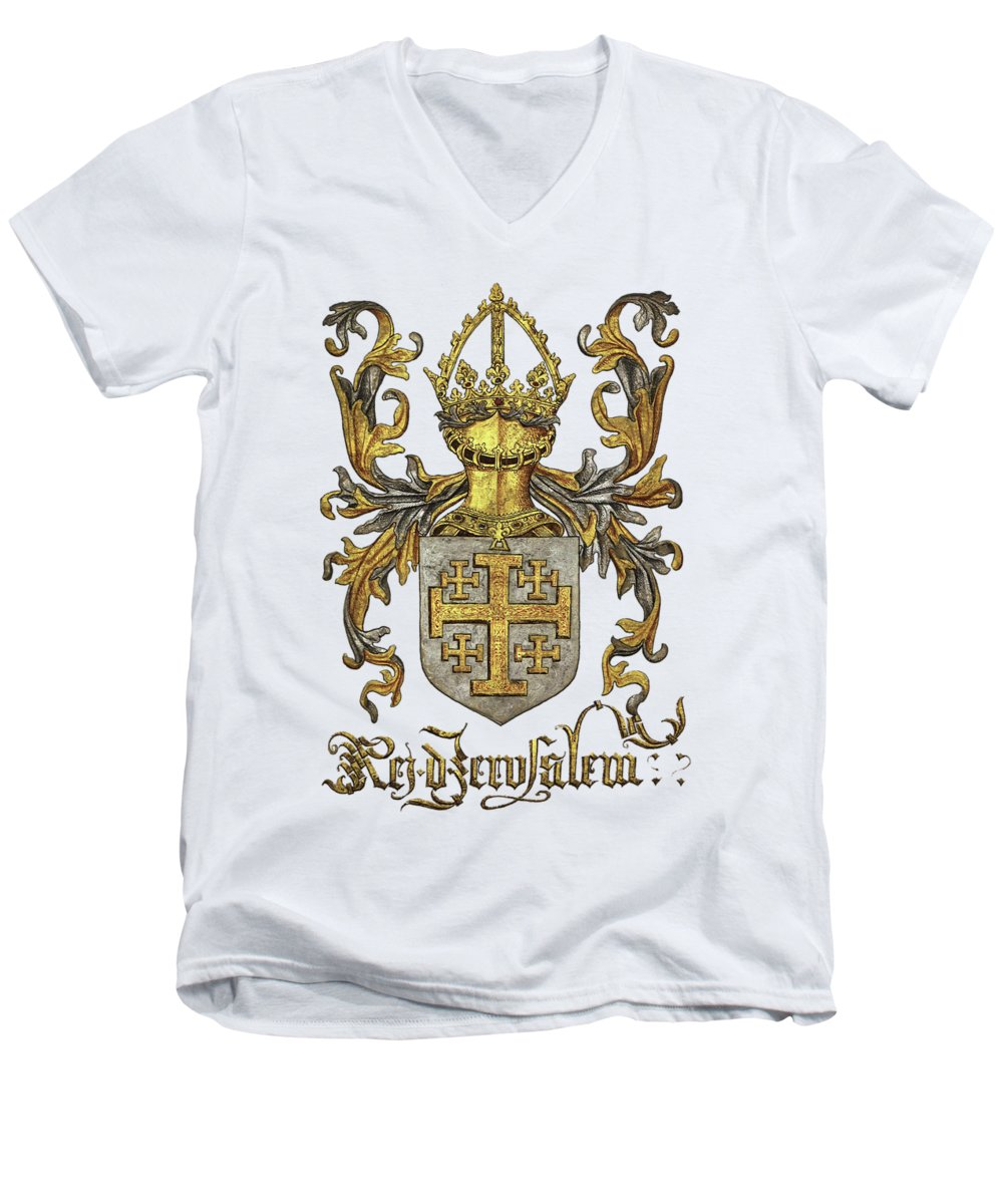 'roll Of Arms� Collection By Serge Averbukh Men's V-Neck T-Shirt featuring the photograph Kingdom Of Jerusalem Coat Of Arms - Livro Do Armeiro-mor by Serge Averbukh