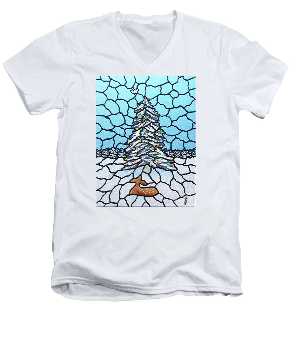 Peace Men's V-Neck T-Shirt featuring the painting Let There Be Peace by Jim Harris