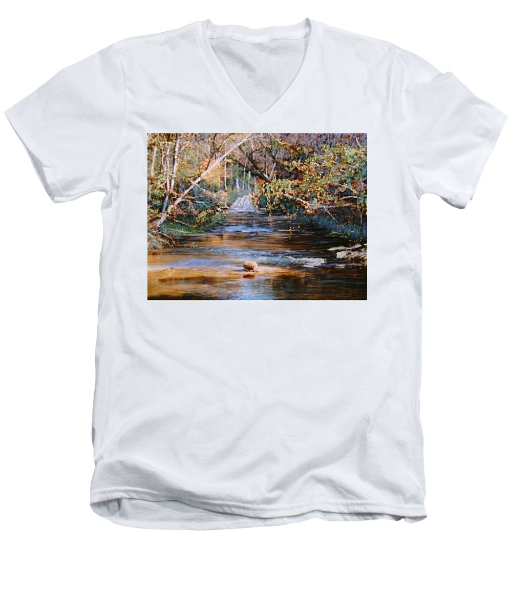 River; Waterfalls Men's V-Neck T-Shirt featuring the painting My Secret Place by Ben Kiger