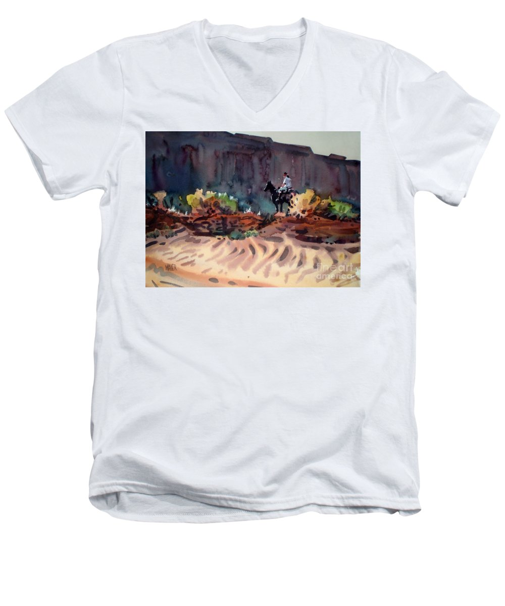 Equestrian Men's V-Neck T-Shirt featuring the painting Navajo Rider by Donald Maier