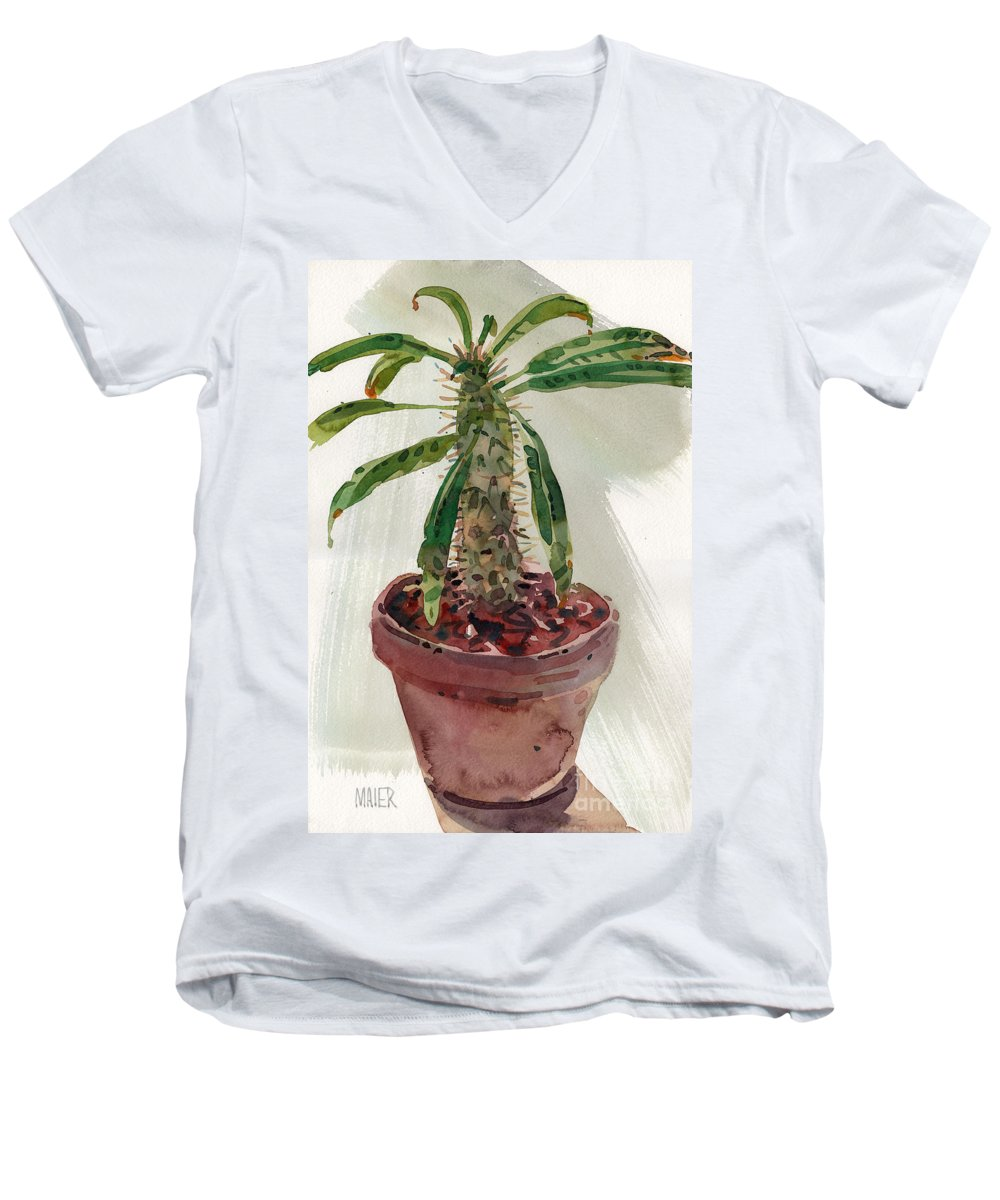 Euphorbia Men's V-Neck T-Shirt featuring the painting Pachypodium by Donald Maier