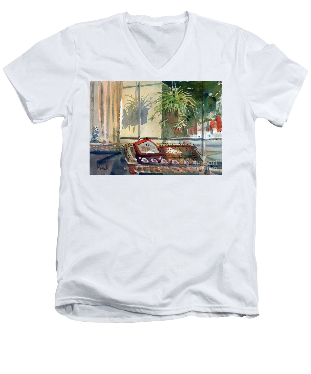 Spider Plant Men's V-Neck T-Shirt featuring the painting Spider Plant In The Window by Donald Maier