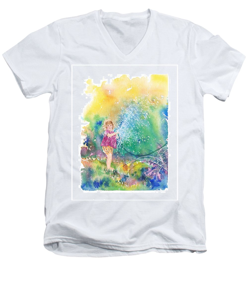 Children Men's V-Neck T-Shirt featuring the painting Summer Fun by Gale Cochran-Smith