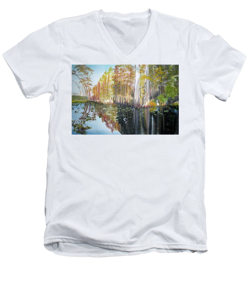 Landscape Of A South Florida Swamp At Dusk Feels Very Wild Men's V-Neck T-Shirt featuring the painting Swamp Reflection by Hal Newhouser
