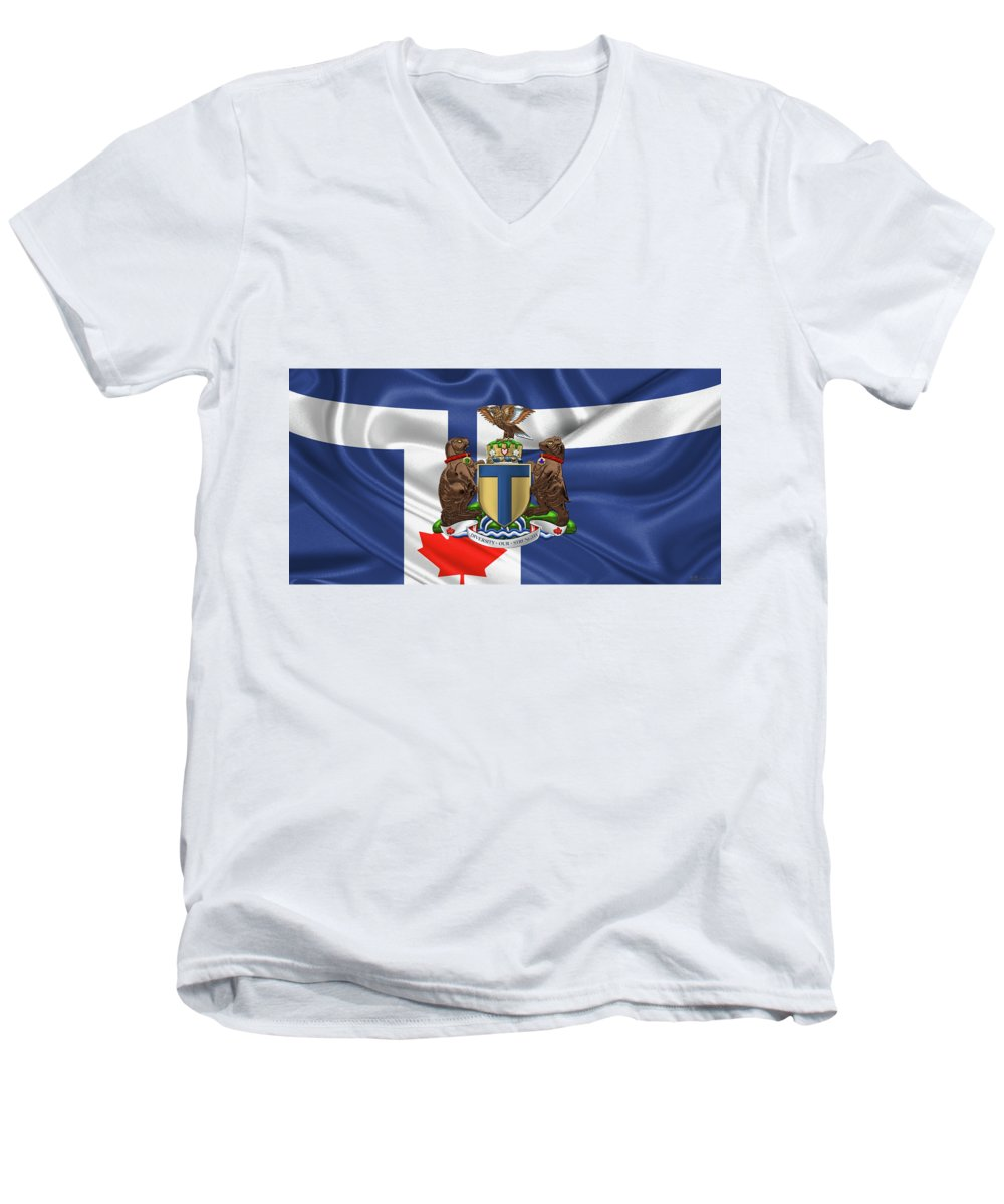 'cities Of The World' Collection By Serge Averbukh Men's V-Neck T-Shirt featuring the photograph Toronto - Coat Of Arms Over City Of Toronto Flag by Serge Averbukh