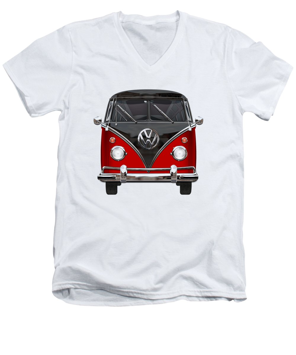 'volkswagen Type 2' Collection By Serge Averbukh Men's V-Neck T-Shirt featuring the photograph Volkswagen Type 2 - Red And Black Volkswagen T 1 Samba Bus On White by Serge Averbukh