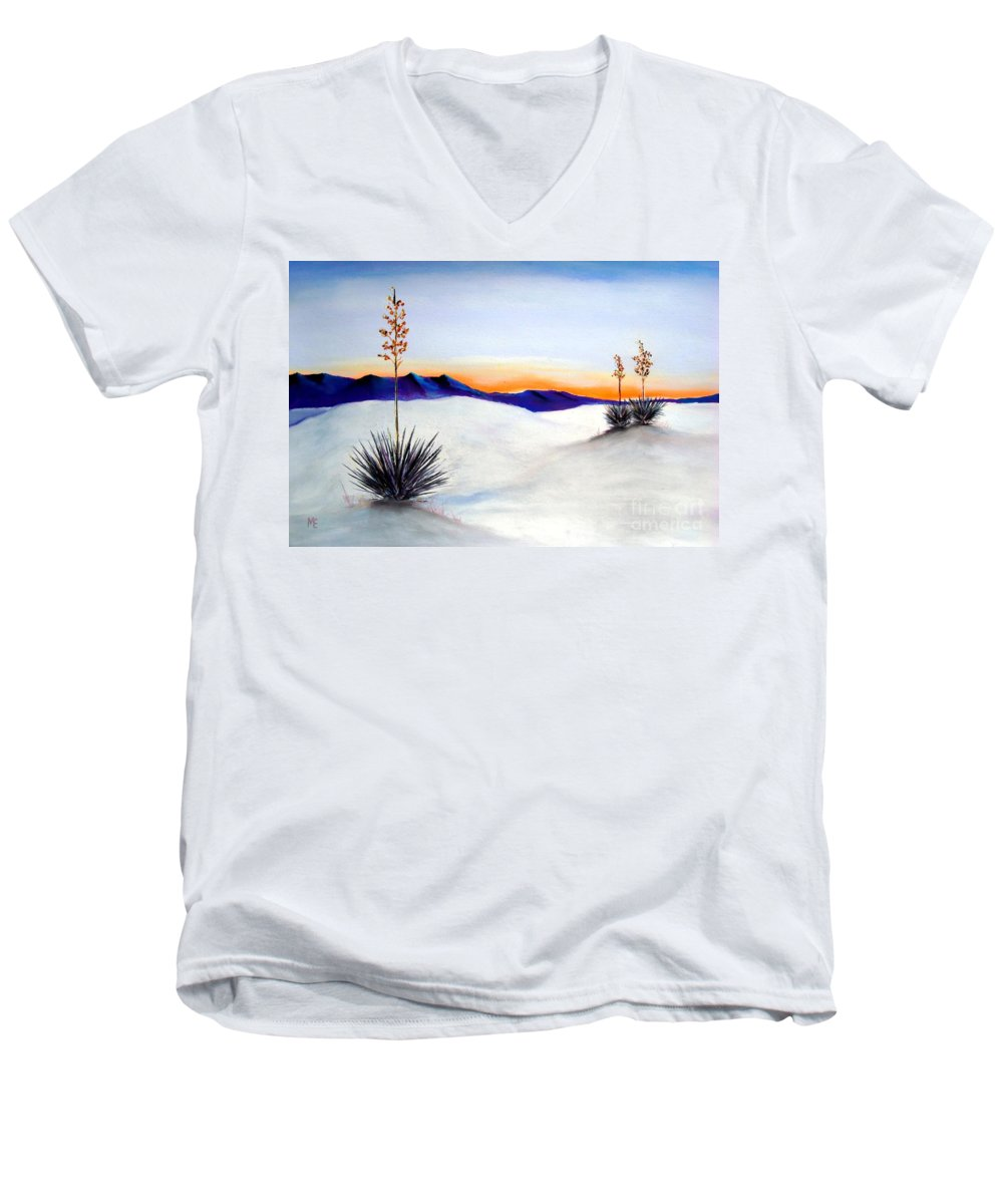 White Sands Men's V-Neck T-Shirt featuring the painting White Sands by Melinda Etzold