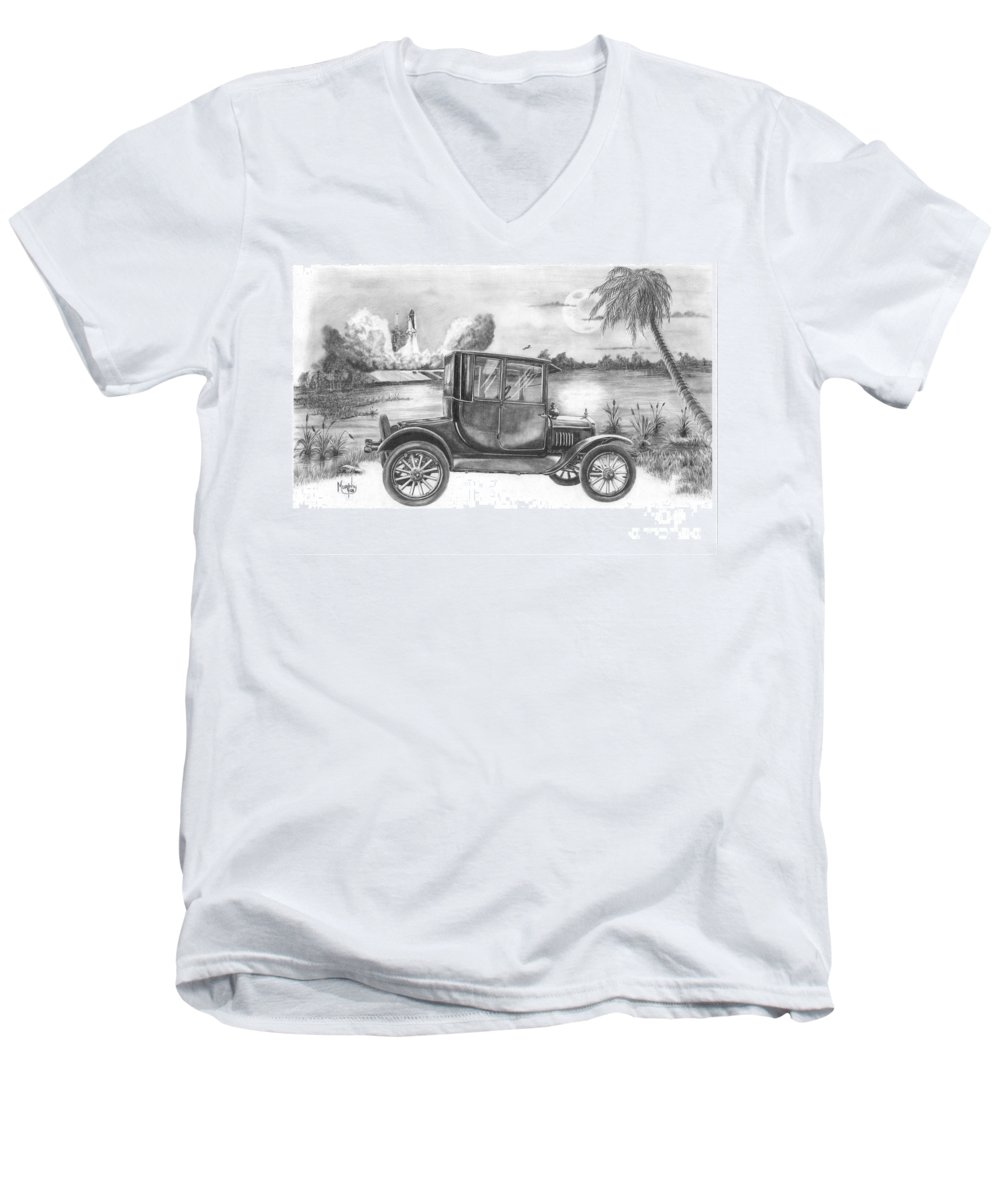 Pencil Men's V-Neck T-Shirt featuring the drawing Yesterday And Today by Murphy Elliott