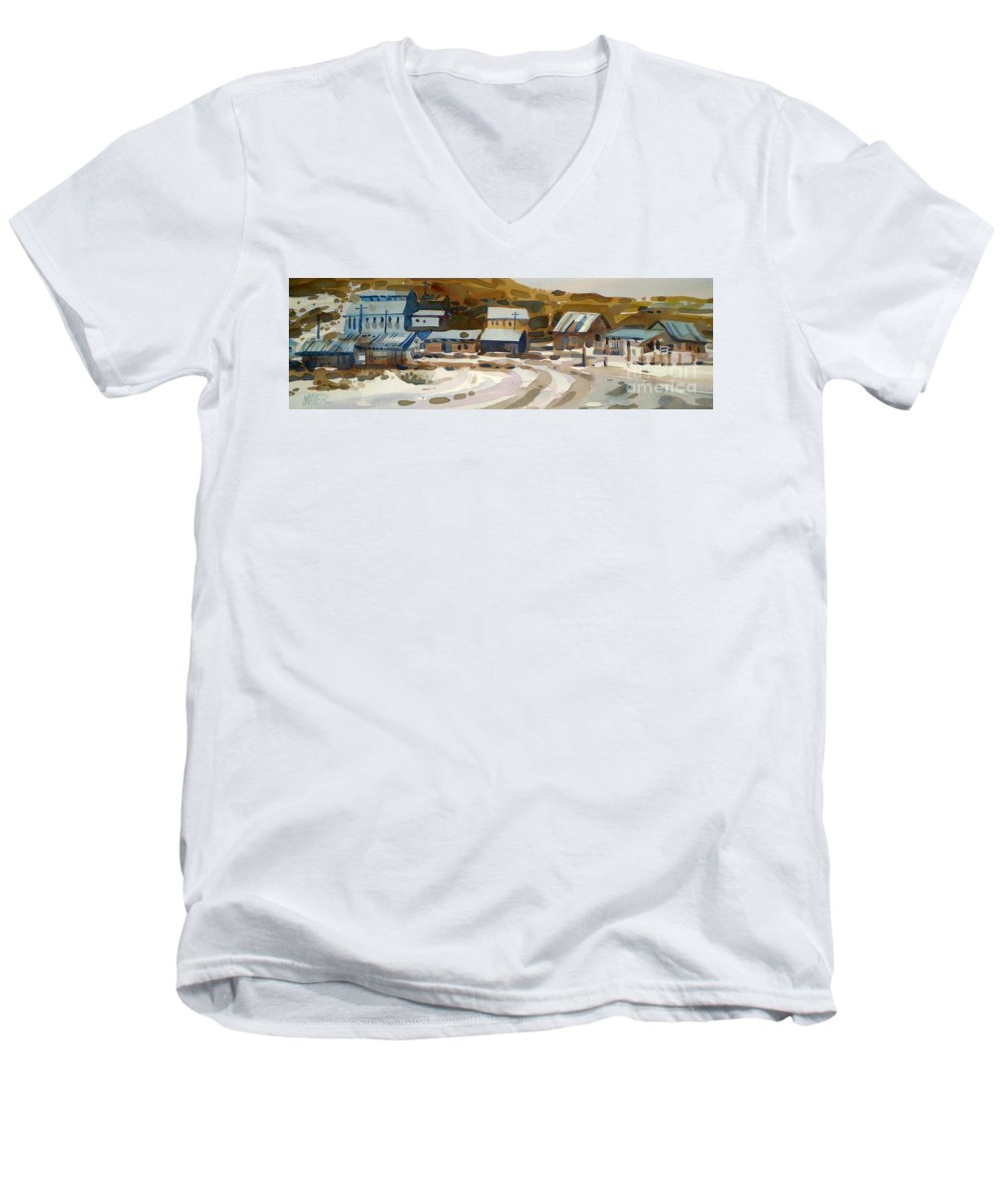Ghost Town Men's V-Neck T-Shirt featuring the painting Bodie California 1979 by Donald Maier