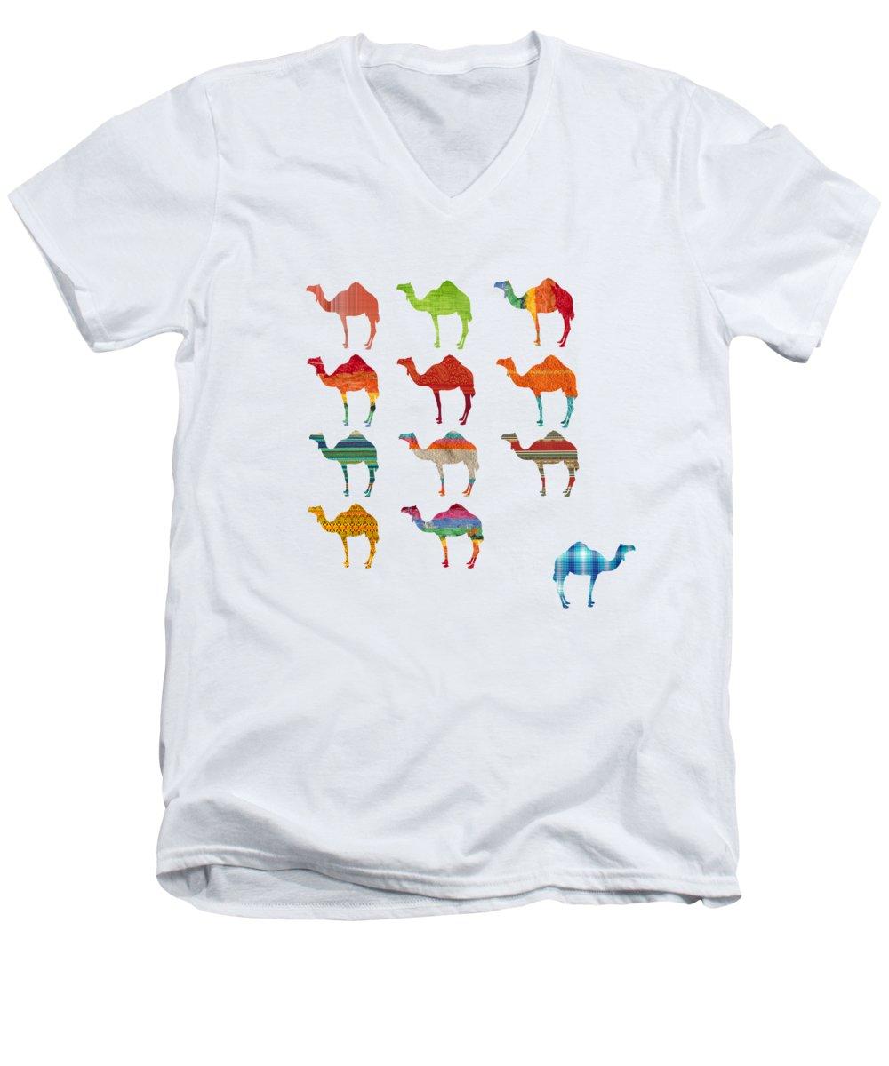 Camel V-Neck T-Shirts