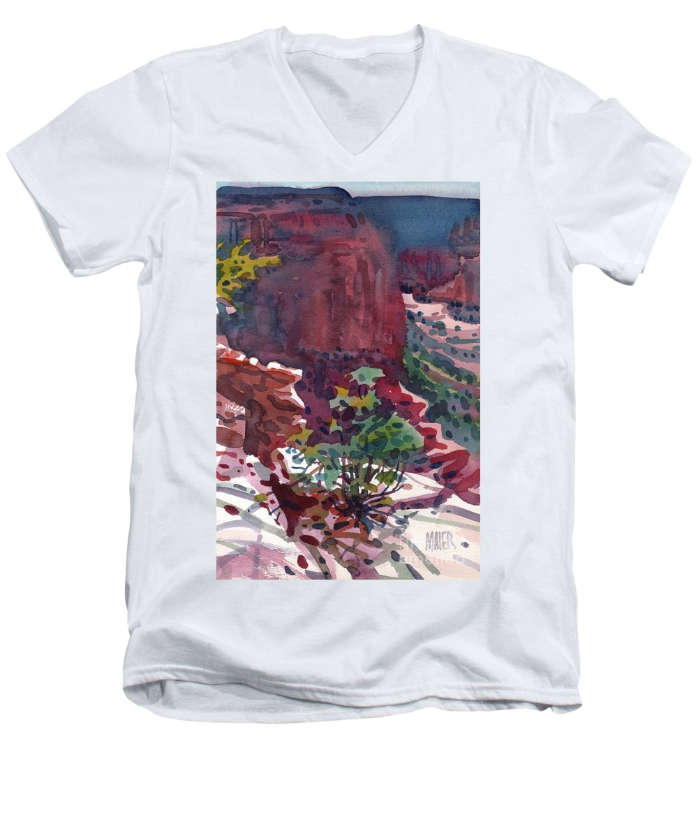 Canyon De Chelly Men's V-Neck T-Shirt featuring the painting Canyon View by Donald Maier