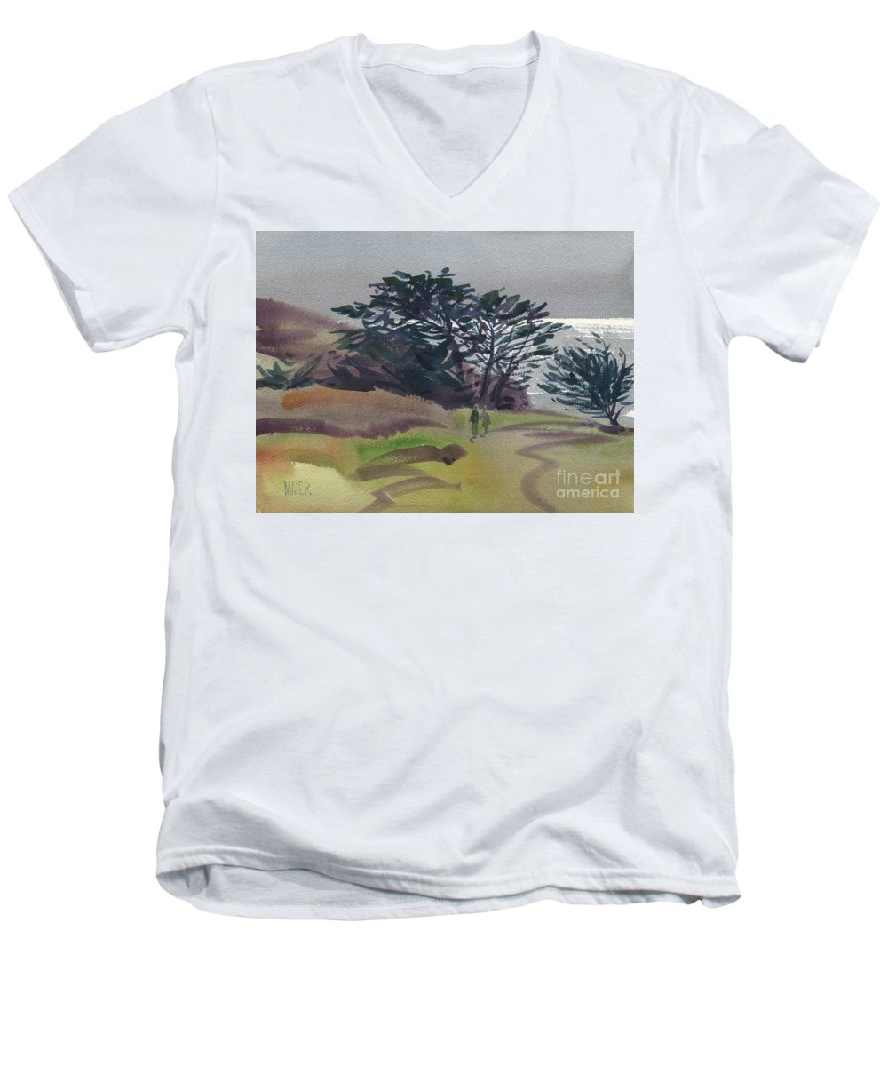 Plein Air Men's V-Neck T-Shirt featuring the painting Miramonte Point 1 by Donald Maier