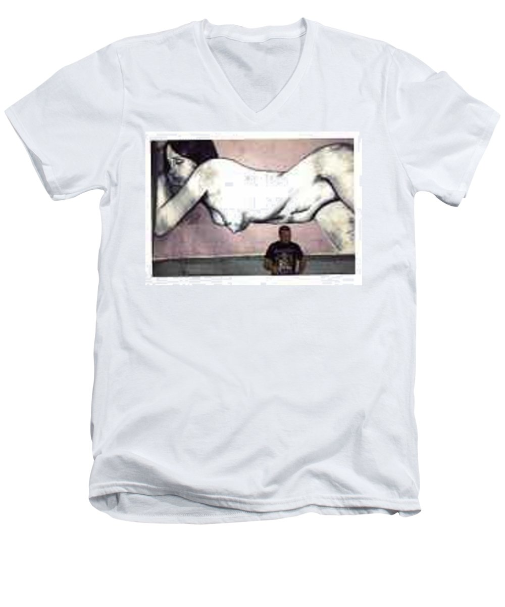 Nude Men's V-Neck T-Shirt featuring the painting Missy by Thomas Valentine