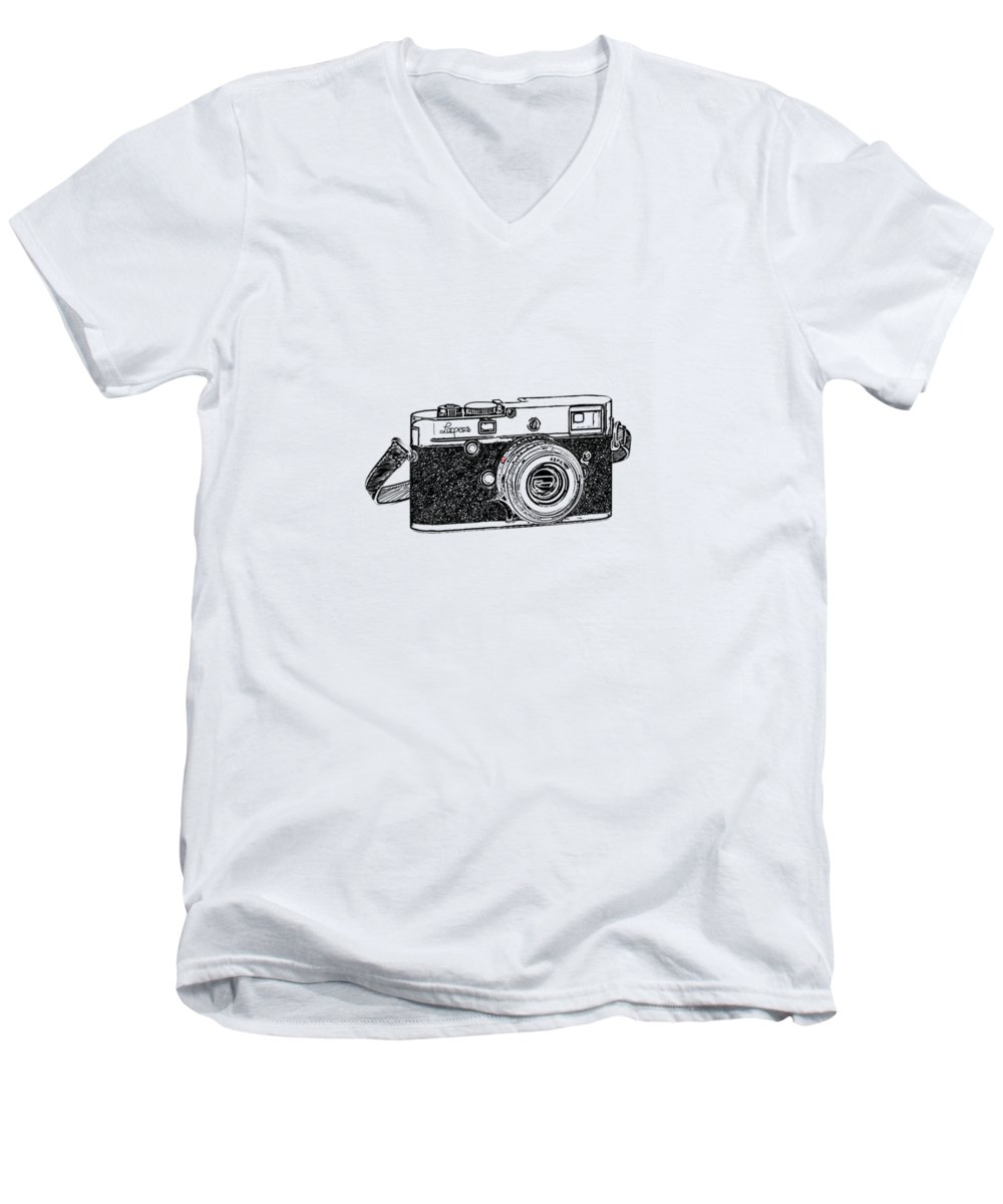 Analog Men's V-Neck T-Shirt featuring the digital art Rangefinder Camera by Setsiri Silapasuwanchai