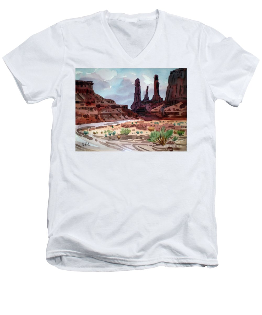 Monument Valley Men's V-Neck T-Shirt featuring the painting Three Sisters by Donald Maier