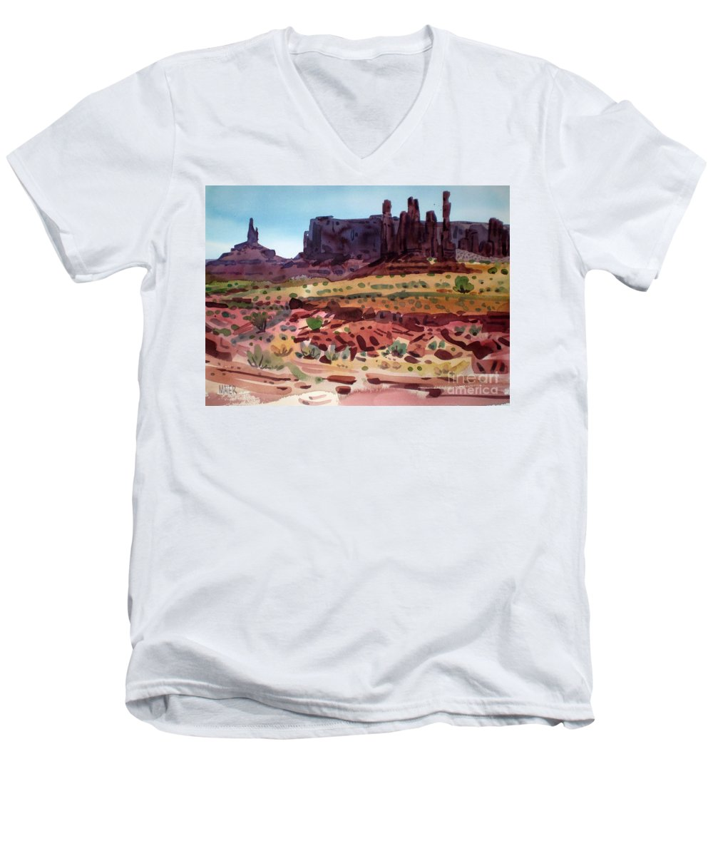 Monument Valley Men's V-Neck T-Shirt featuring the painting Totem Poles by Donald Maier
