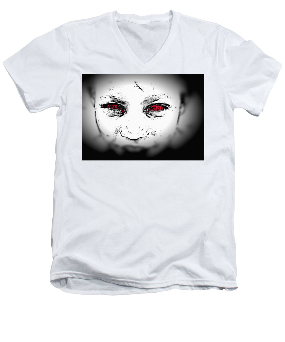Eyes Face Looks Black And White Red Men's V-Neck T-Shirt featuring the digital art Untitled by Veronica Jackson