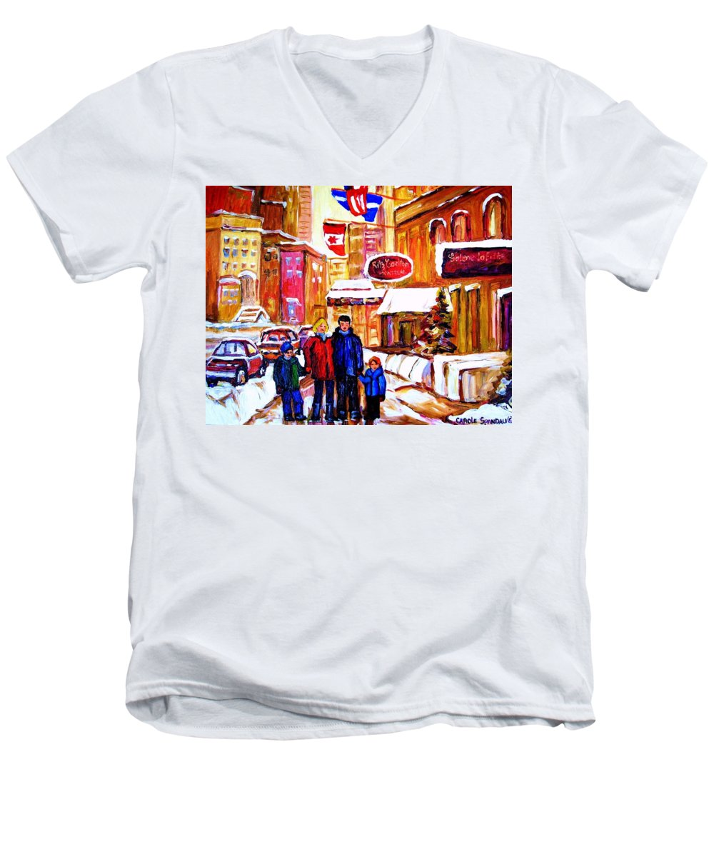 Montreal Men's V-Neck T-Shirt featuring the painting Montreal Street In Winter by Carole Spandau