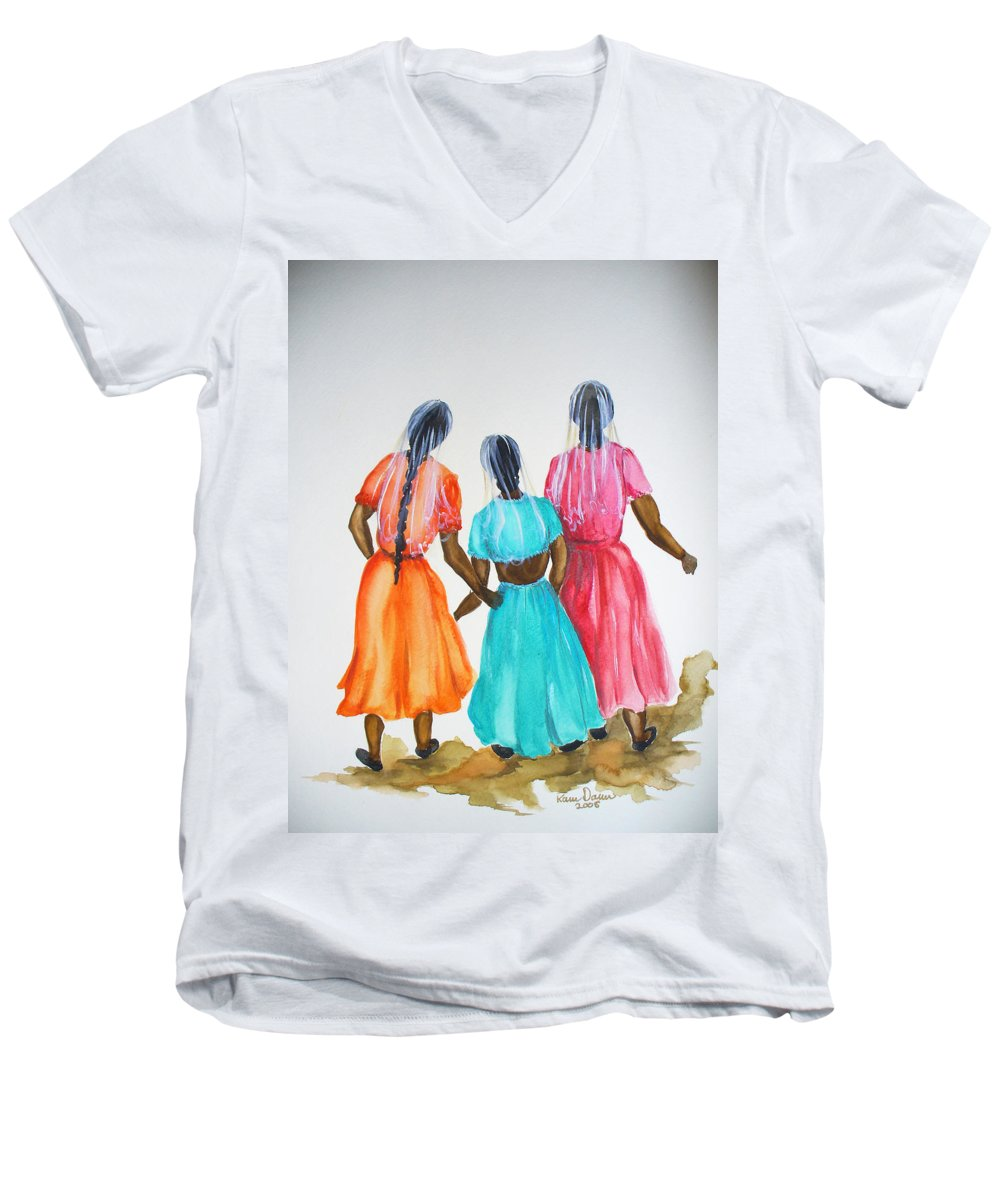 Three Ladies East Indian Men's V-Neck T-Shirt featuring the painting 3bff by Karin Dawn Kelshall- Best