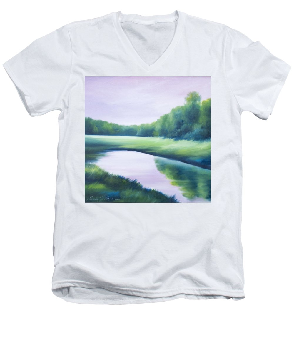 Nature; Lake; Sunset; Sunrise; Serene; Forest; Trees; Water; Ripples; Clearing; Lagoon; James Christopher Hill; Jameshillgallery.com; Foliage; Sky; Realism; Oils; Green; Tree; Blue; Pink; Pond; Lake Men's V-Neck T-Shirt featuring the painting A Day In The Life 1 by James Christopher Hill