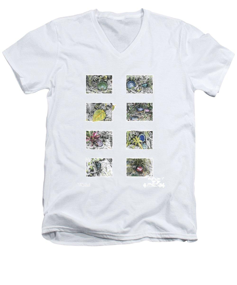 Tropical Men's V-Neck T-Shirt featuring the drawing A Potters Garden by Kerryn Madsen-Pietsch