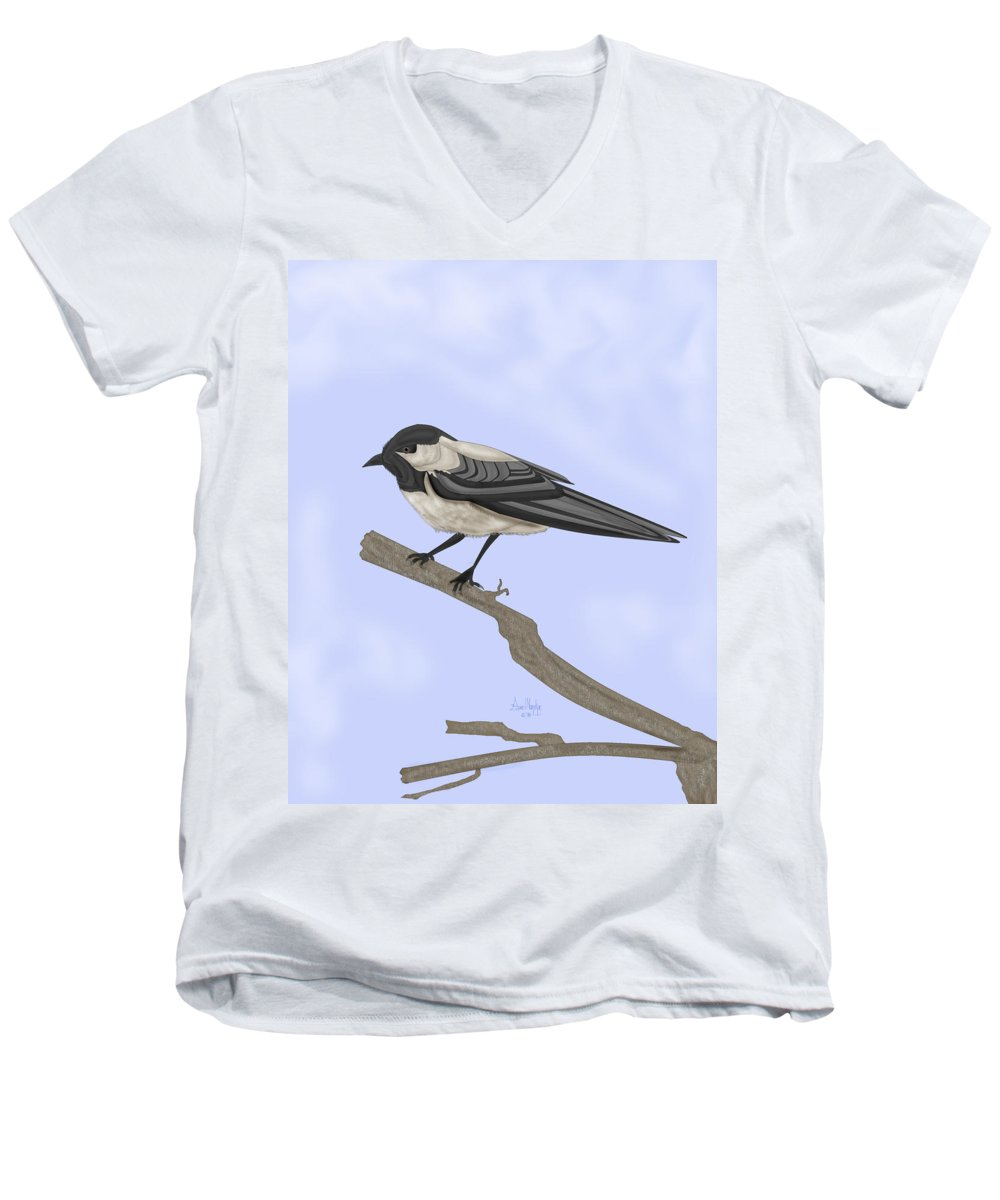 Bird Men's V-Neck T-Shirt featuring the painting A Small Guest by Anne Norskog