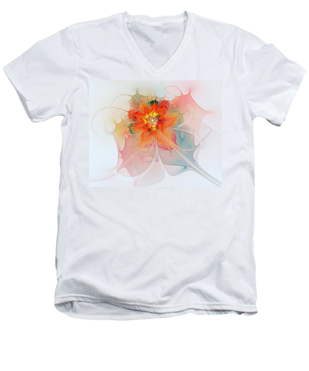Digital Art Men's V-Neck T-Shirt featuring the digital art A Touch Of Spring by Amanda Moore