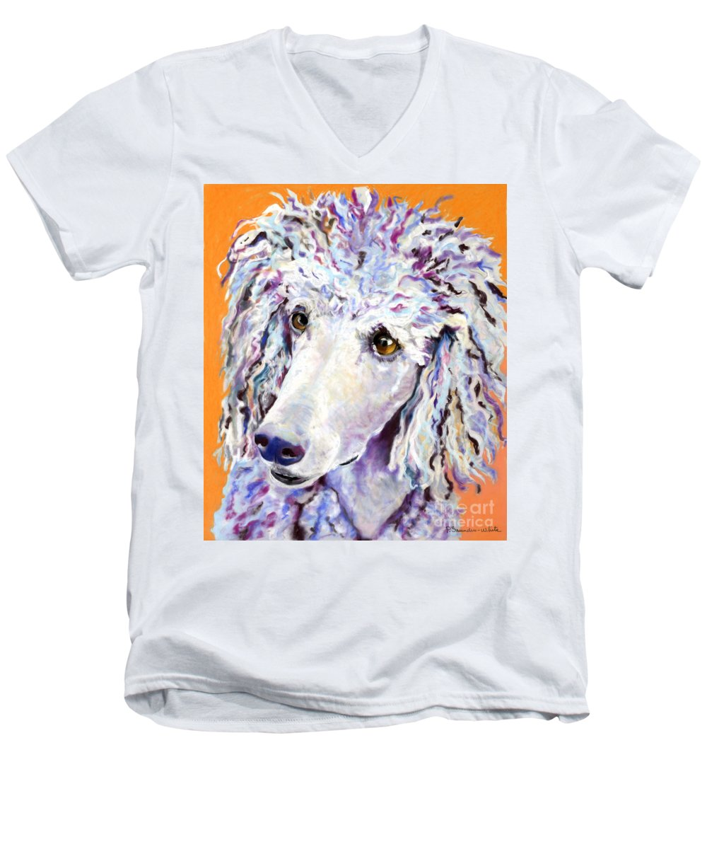 Standard Poodle Men's V-Neck T-Shirt featuring the pastel Above The Standard  by Pat Saunders-White
