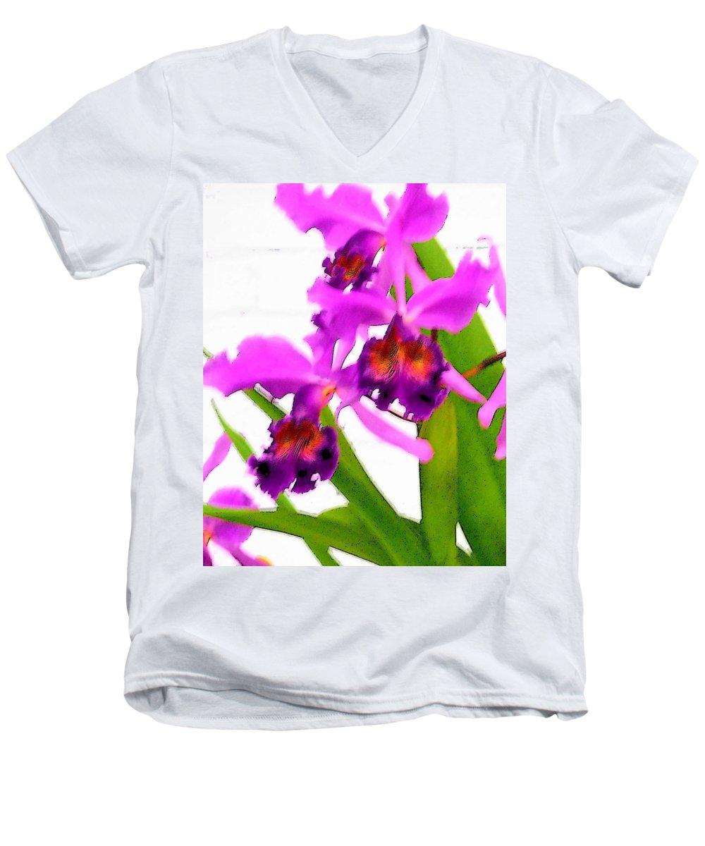 Flowers Men's V-Neck T-Shirt featuring the digital art Abstract Iris by Anita Burgermeister
