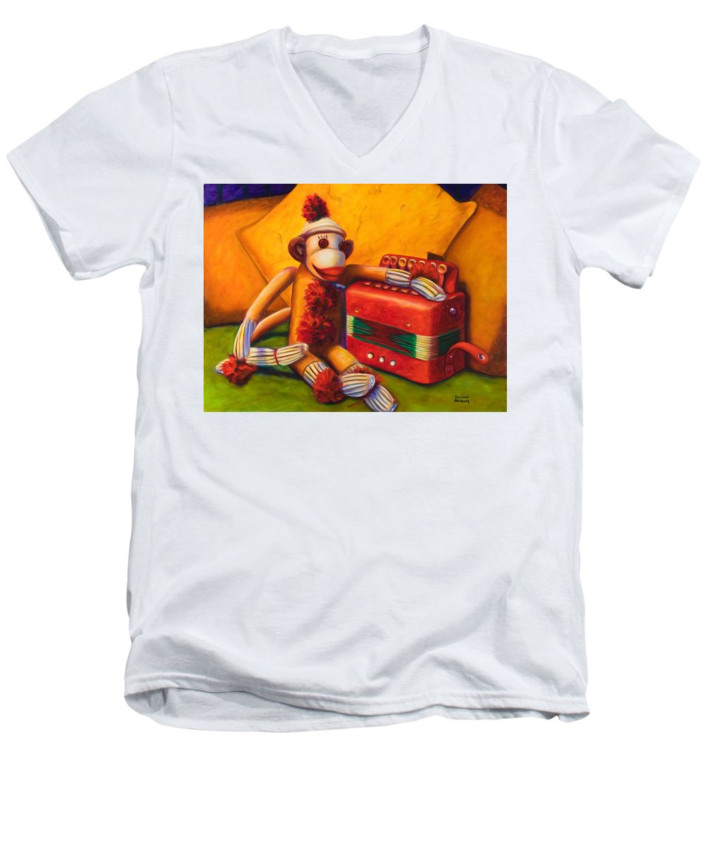 Children Men's V-Neck T-Shirt featuring the painting Accordion by Shannon Grissom