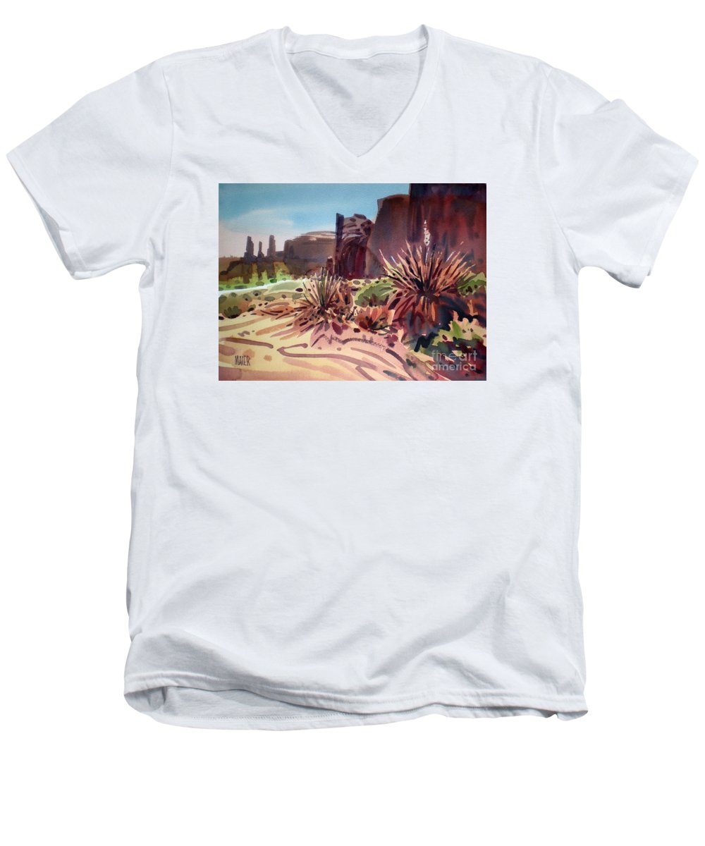 Monument Valley Men's V-Neck T-Shirt featuring the painting Across Monument Valley by Donald Maier