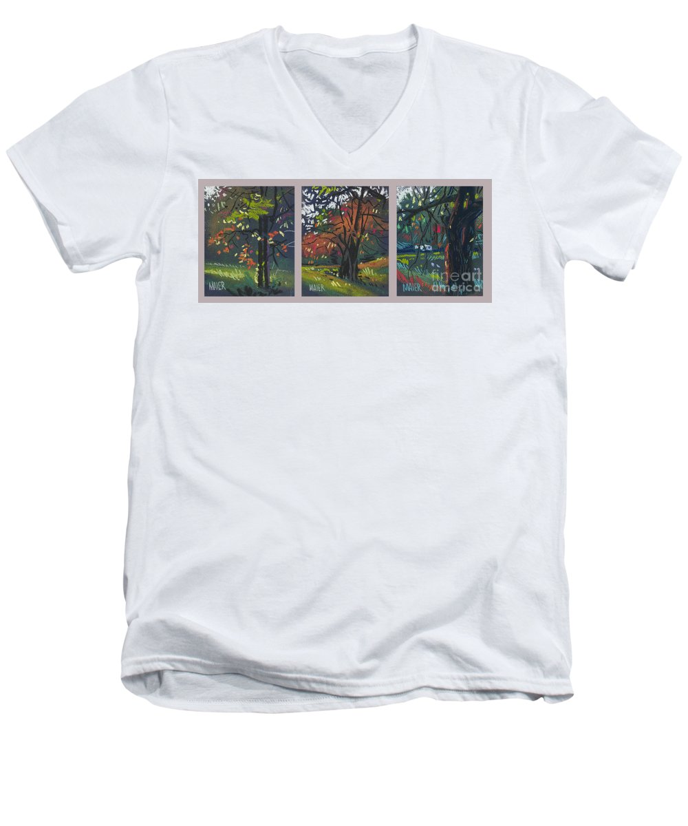 Autumn Foliage Men's V-Neck T-Shirt featuring the painting Across The Creek Triplet by Donald Maier