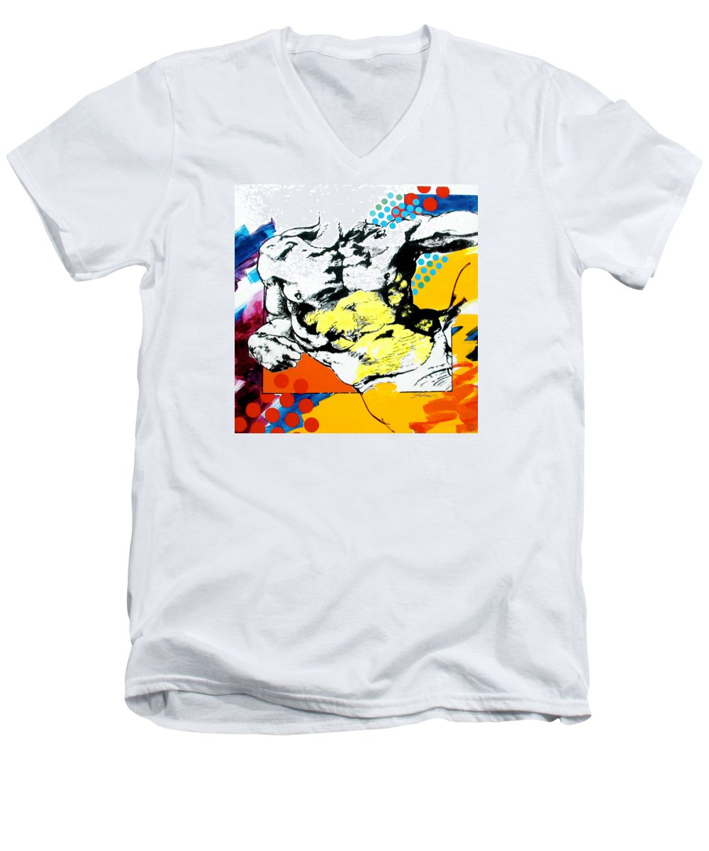 Pop Men's V-Neck T-Shirt featuring the painting Adam by Jean Pierre Rousselet