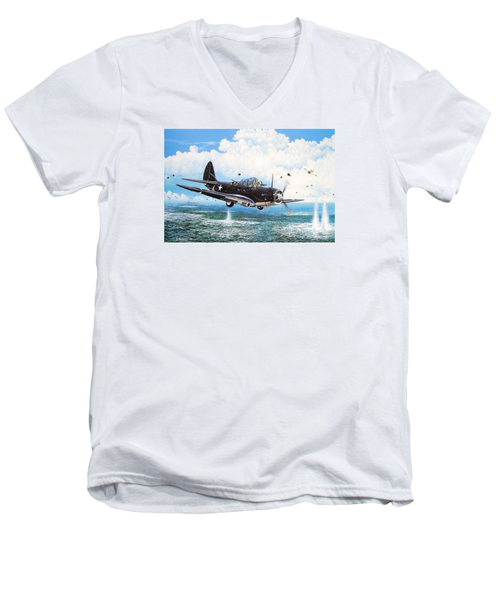 Military Men's V-Neck T-Shirt featuring the painting Against The Odds by Marc Stewart