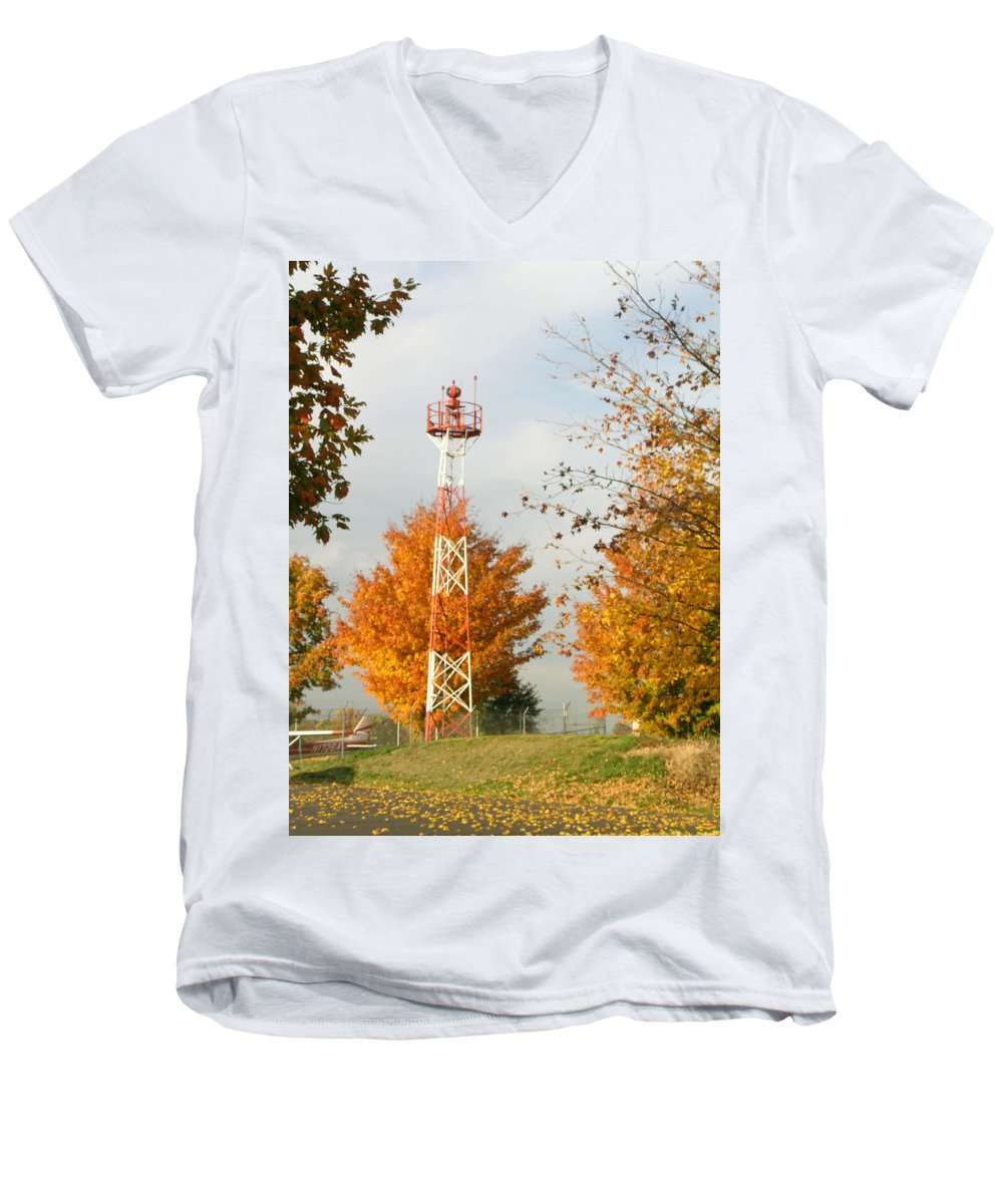 Airport Men's V-Neck T-Shirt featuring the photograph Airport Tower by Douglas Barnett