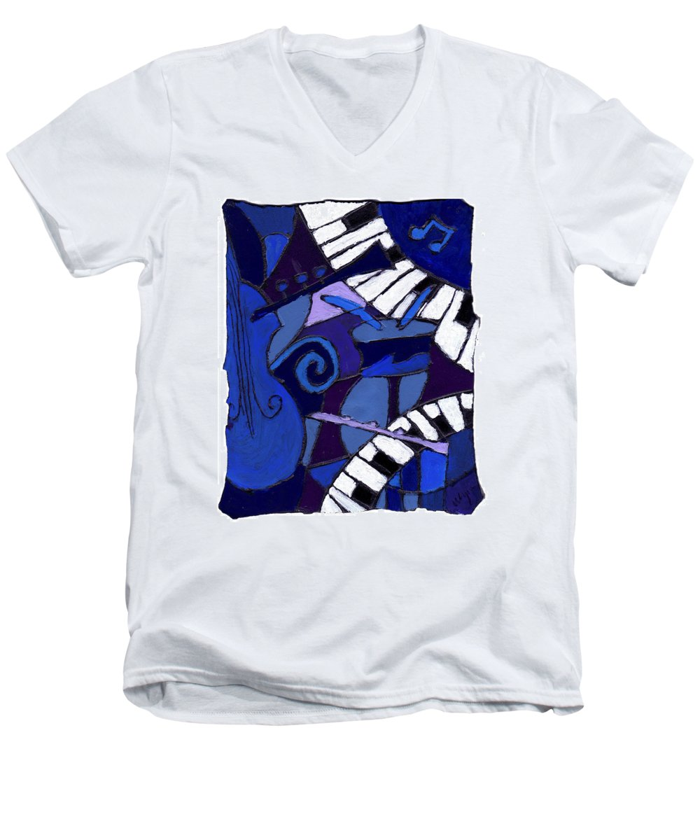 Jazz Men's V-Neck T-Shirt featuring the painting All That Jazz 3 by Wayne Potrafka