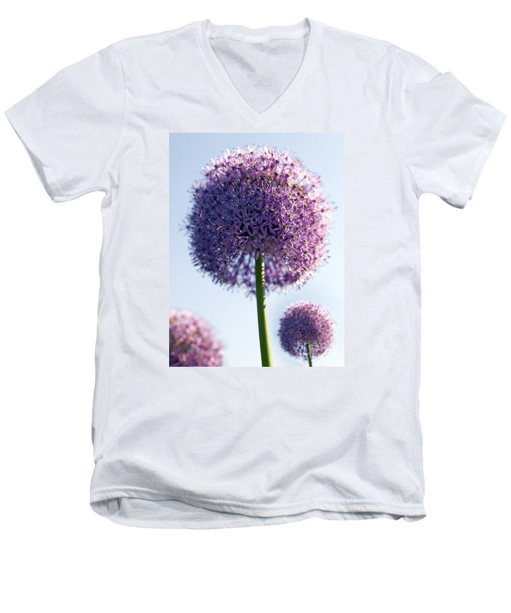 Allium Men's V-Neck T-Shirt featuring the photograph Allium Flower by Tony Cordoza