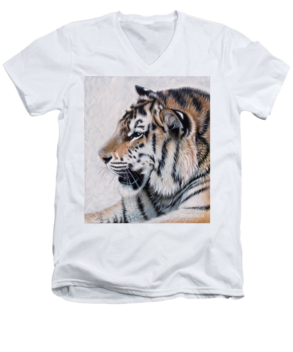 Acrylic Men's V-Neck T-Shirt featuring the painting Amur by Sandi Baker