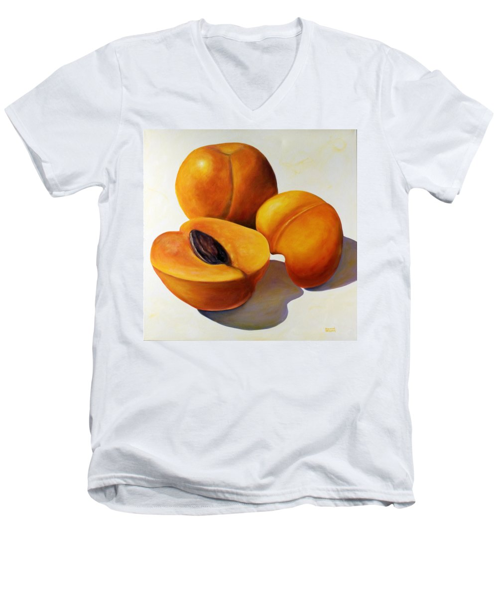 Apricots Men's V-Neck T-Shirt featuring the painting Apricots by Shannon Grissom