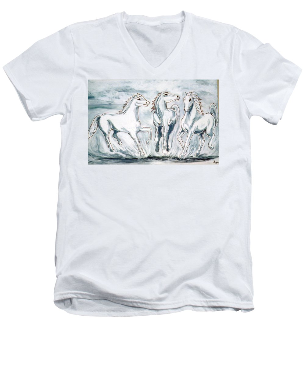 Horses Men's V-Neck T-Shirt featuring the painting Arabian Roots by Marco Morales