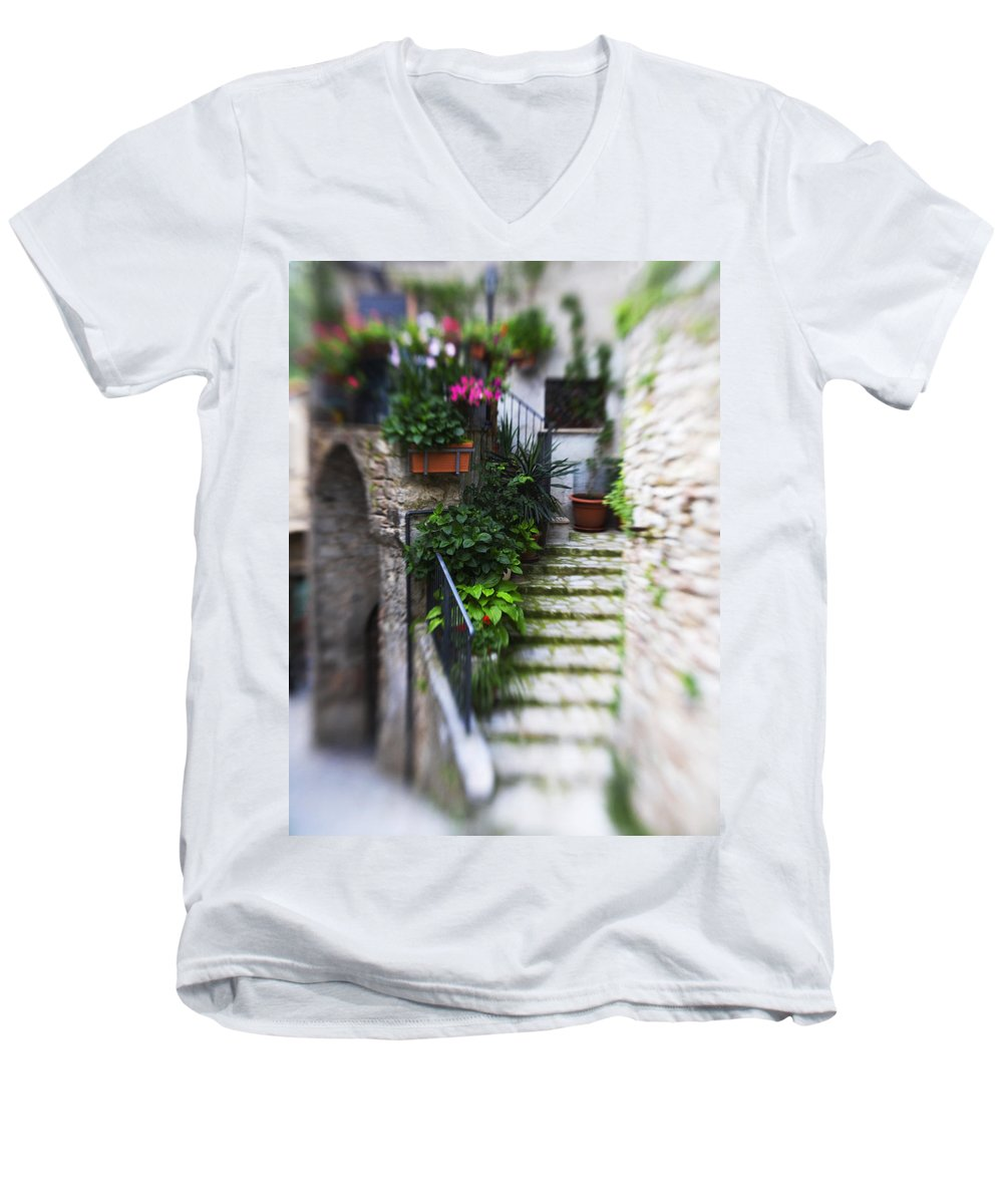 Italy Men's V-Neck T-Shirt featuring the photograph Archway And Stairs by Marilyn Hunt