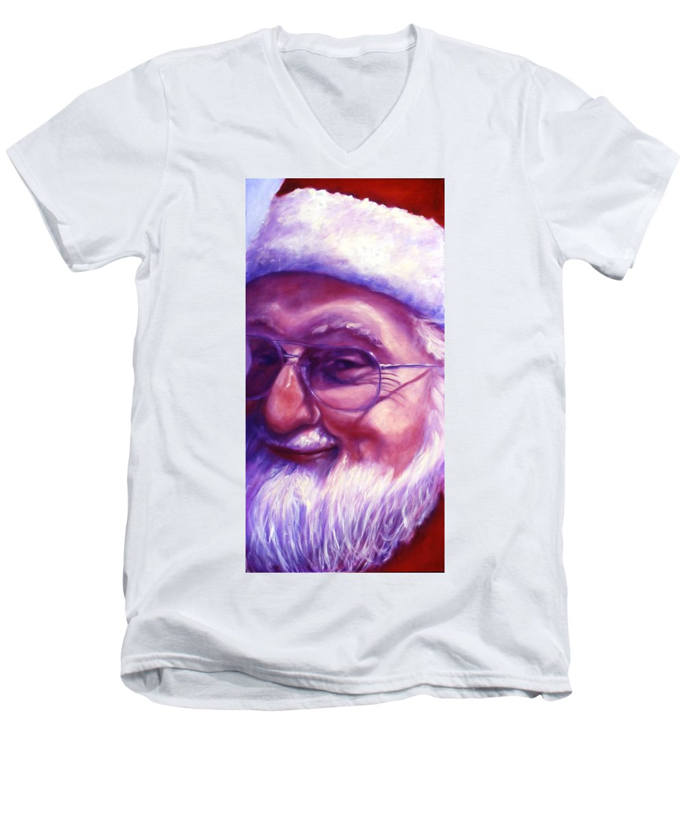 Portrait Men's V-Neck T-Shirt featuring the painting Are You Sure You Have Been Nice by Shannon Grissom