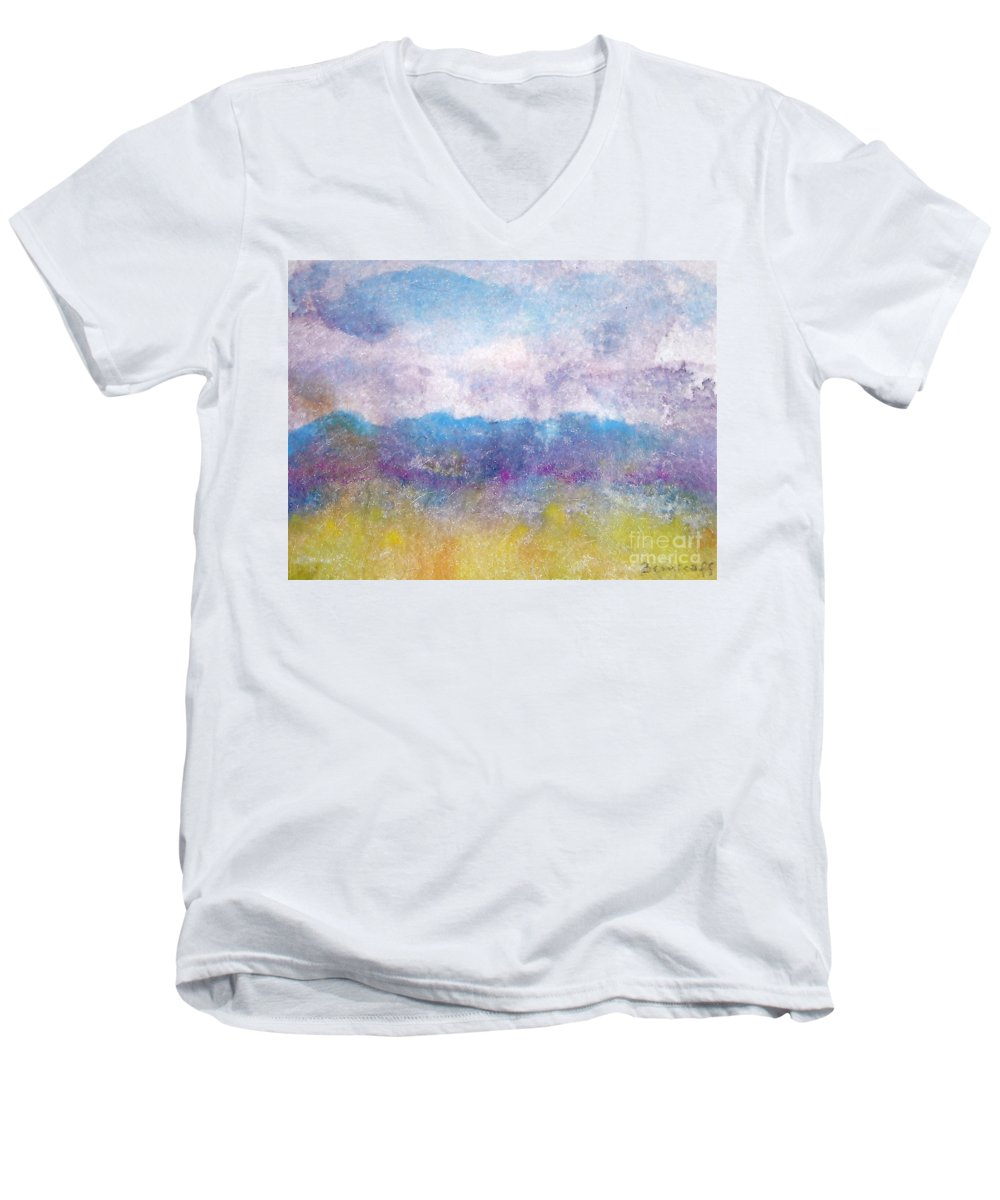 Abstract Men's V-Neck T-Shirt featuring the painting Arizona Impressions by Jan Bennicoff